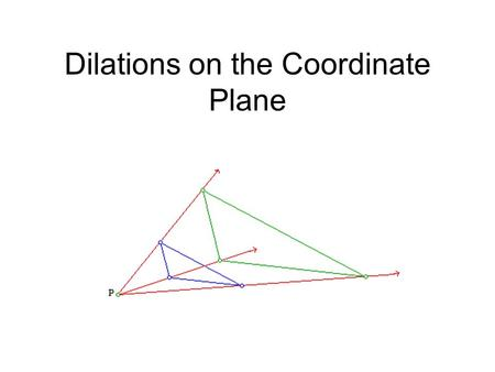 Dilations on the Coordinate Plane. Enlarging or reducing a figure is called a dilation A dilated figure is similar to the original figure The ratio of.