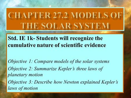 Chapter 27.2 Models of the solar system