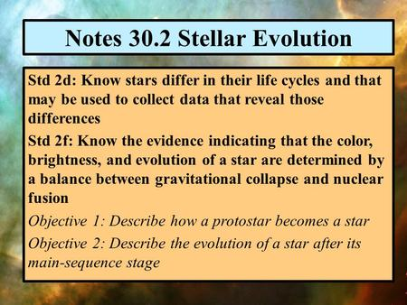 Notes 30.2 Stellar Evolution