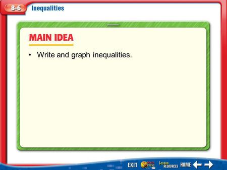 Main Idea/Vocabulary Write and graph inequalities.