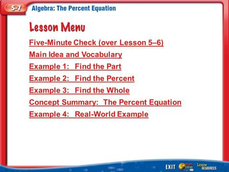 Lesson Menu Five-Minute Check (over Lesson 5–6) Main Idea and Vocabulary Example 1:Find the Part Example 2:Find the Percent Example 3:Find the Whole Concept.
