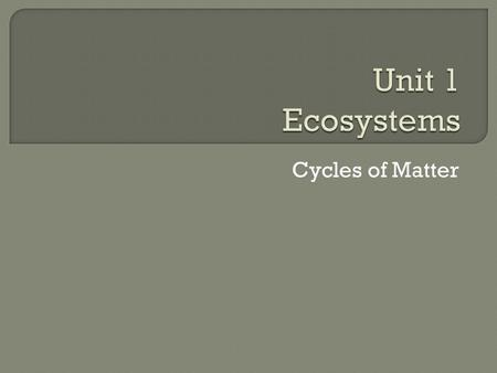 Unit 1 Ecosystems Cycles of Matter.