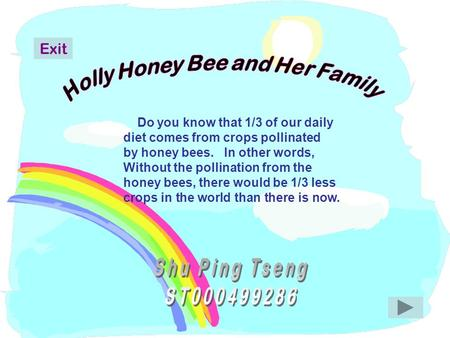 Do you know that 1/3 of our daily diet comes from crops pollinated by honey bees. In other words, Without the pollination from the honey bees, there would.
