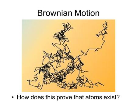 Brownian Motion How does this prove that atoms exist?