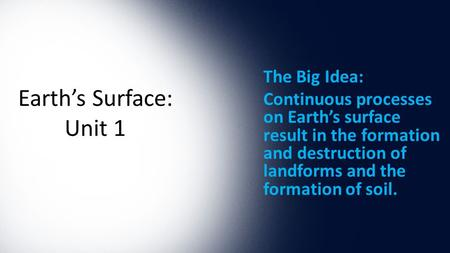Earth's Surface: Unit 1 The Big Idea: Continuous processes on Earth's surface result in the formation and destruction of landforms and the formation of.