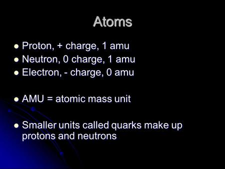 Atoms Proton, + charge, 1 amu Proton, + charge, 1 amu Neutron, 0 charge, 1 amu Neutron, 0 charge, 1 amu Electron, - charge, 0 amu Electron, - charge, 0.