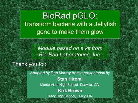 BioRad pGLO: BioRad pGLO: Transform bacteria with a Jellyfish gene to make them glow Module based on a kit from Bio-Rad Laboratories, Inc. Adapted by Dan.