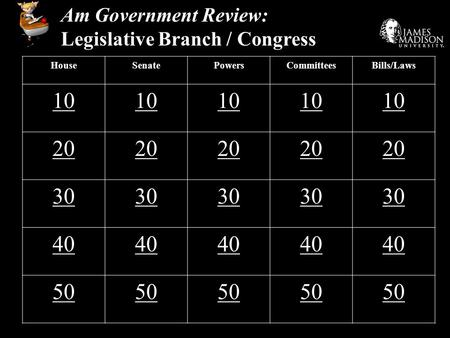Am Government Review: Legislative Branch / Congress HouseSenatePowersCommitteesBills/Laws 10 20 30 40 50.