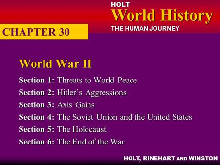 HOLT World History World History THE HUMAN JOURNEY HOLT, RINEHART AND WINSTON World War II Section 1:Threats to World Peace Section 2:Hitler's Aggressions.