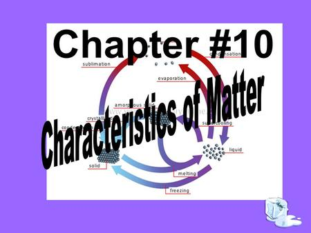 Chapter #10. The process of liquid water changing to a gas is called a.Freezing b.Precipitation c.Melting d.Vaporization.