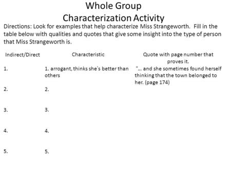 Whole Group Characterization Activity