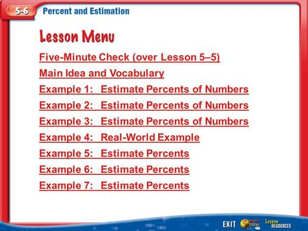 Lesson Menu Five-Minute Check (over Lesson 5–5) Main Idea and Vocabulary Example 1:Estimate Percents of Numbers Example 2:Estimate Percents of Numbers.