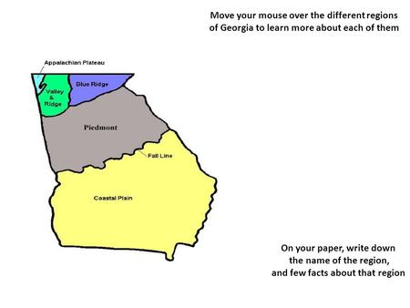 Move your mouse over the different regions of Georgia to learn more about each of them On your paper, write down the name of the region, and few facts.
