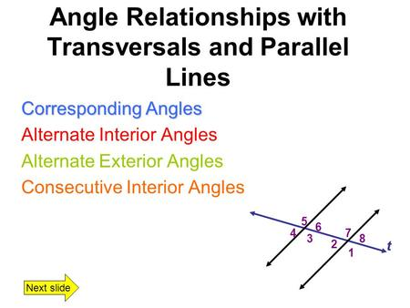Parallel Lines Transversals Transversal A Line Ray Or Segment That Intersects 2 Or More
