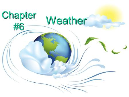 Chapter #6 Weather. What is the atmosphere? a.Water vapor in the air around Earth b.The oxygen in the air around Earth c.The clouds in the air around.