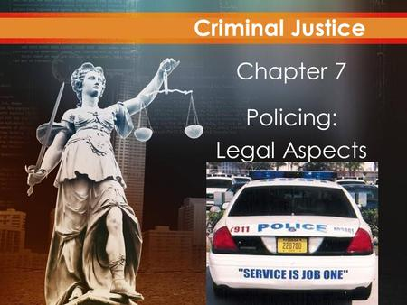 Criminal Justice Today Chapter 7 Policing: Legal Aspects Criminal Justice.