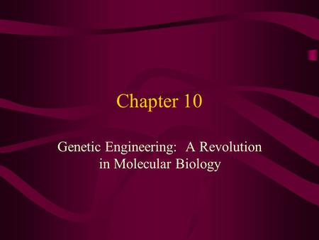 Chapter 10 Genetic Engineering: A Revolution in Molecular Biology.