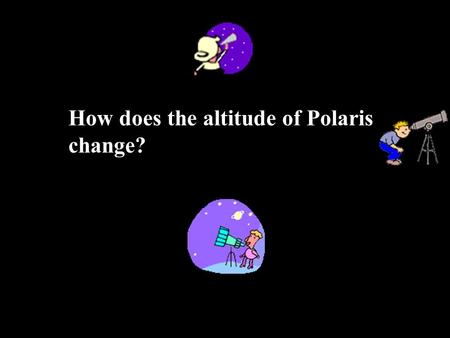 "How does the altitude of Polaris change? We will be taking a ""virtual"" field trip to different spots on the Earth and viewing the stars there. We are."