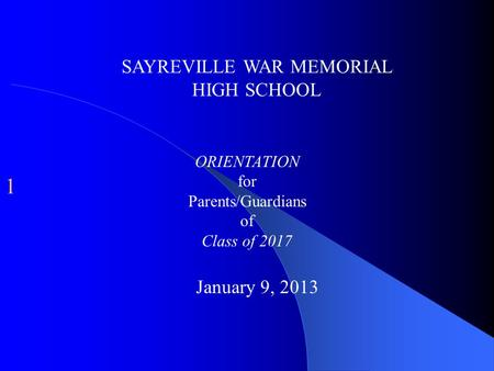 SAYREVILLE WAR MEMORIAL HIGH SCHOOL