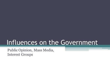 Influences on the Government Public Opinion, Mass Media, Interest Groups.