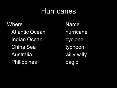 Hurricanes WhereName Atlantic Oceanhurricane Indian Oceancyclone China Seatyphoon Australiawilly-willy Philippinesbagio.