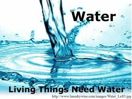 Water Living Things Need Water