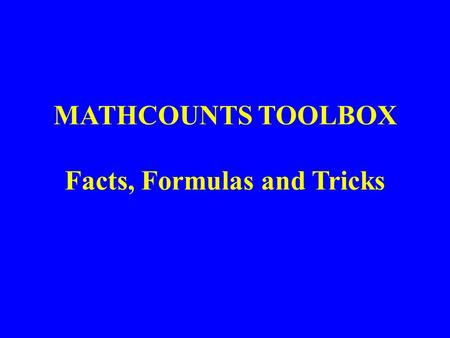 MATHCOUNTS TOOLBOX Facts, Formulas and Tricks. Lesson 10: Combinations.