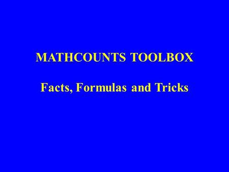 MATHCOUNTS TOOLBOX Facts, Formulas and Tricks. Lesson 11: Permutations.