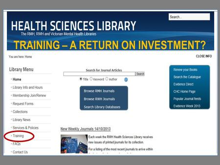 TRAINING – A RETURN ON INVESTMENT?. Links to individual programs here Training webpage.