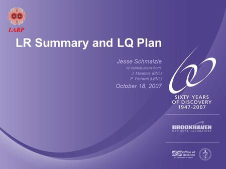 LR Summary and LQ Plan Jesse Schmalzle w/ contributions from: J. Muratore (BNL) P. Ferracin (LBNL) October 18, 2007.
