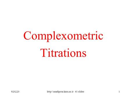 Complexometric Titrations