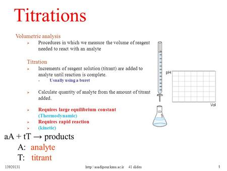 Titrations Volumetric analysis  Procedures in which we measure the volume of reagent needed to react with an analyte Titration  Increments of reagent.