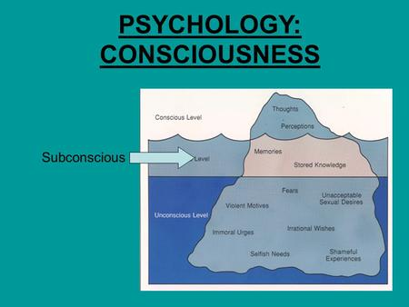 PSYCHOLOGY: CONSCIOUSNESS Subconscious. Consciousness is the awareness of or the possibility of knowing what is happening inside or outside the organism.