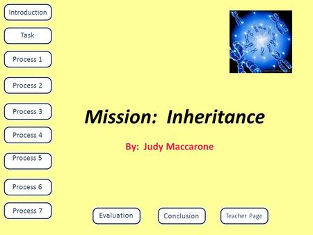 Mission: Inheritance By: Judy Maccarone Introduction Task Process 1Process 4Process 3Process 2 Process 5 Evaluation Teacher Page Conclusion Process 6 Process.
