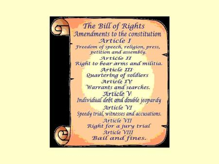 The Bill of Rights 1 st Amendment: Freedom of Speech.