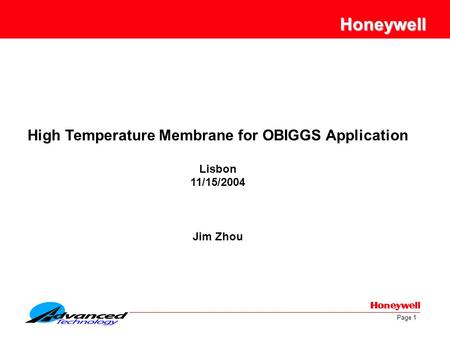 High Temperature Membrane for OBIGGS Application