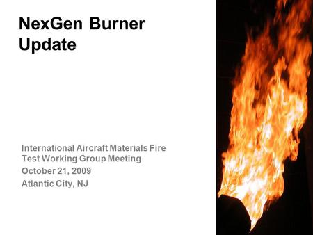 NexGen Burner Update International Aircraft Materials Fire Test Working Group Meeting October 21, 2009 Atlantic City, NJ.