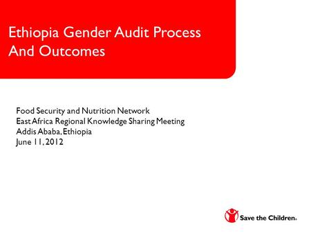 1 Ethiopia Gender Audit Process And Outcomes Food Security and Nutrition Network East Africa Regional Knowledge Sharing Meeting Addis Ababa, Ethiopia June.