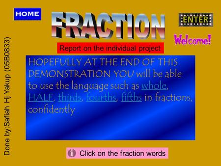 HOPEFULLY AT THE END OF THIS DEMONSTRATION YOU will be able to use the language such as whole, HALF, thirds, fourths, fifths in fractions, confidentlywhole.