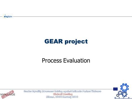 GEAR project Process Evaluation. Overview of GEAR Evaluation Components Outcomes Multi-component internal evaluation External evaluator: Prof. Carol Hagemann-White,
