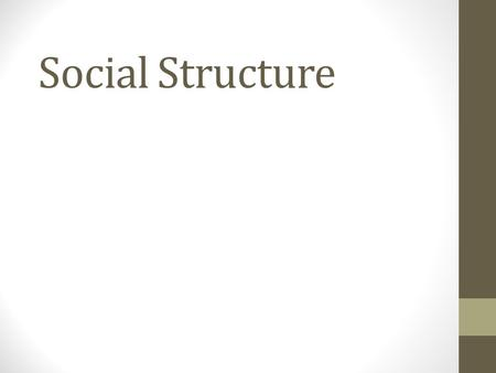 "Social Structure. The underlying patterns of relations in a group. We carry a ""social map"" for situations that we have learned. Components: Culture social."