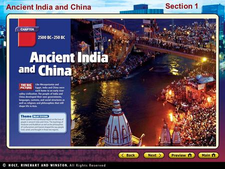Ancient India and China Section 1. Ancient India and China Section 1 Preview Starting Points Map: Eastern Asia Main Idea / Reading Focus India's Geography.