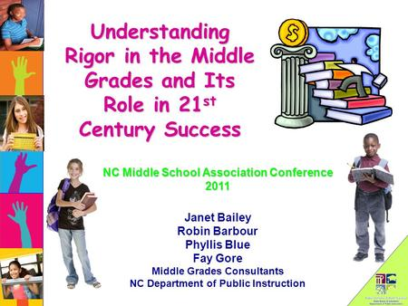 Understanding Rigor in the Middle Grades and Its Role in 21 st Century Success Janet Bailey Robin Barbour Phyllis Blue Fay Gore Middle Grades Consultants.