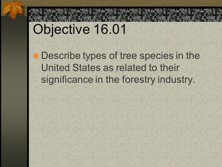 Objective 16.01 Describe types of tree species in the United States as related to their significance in the forestry industry.