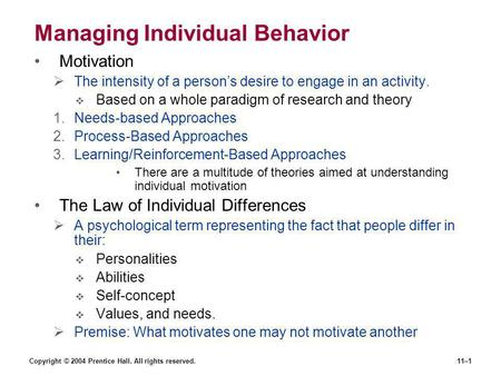 Managing Individual Behavior