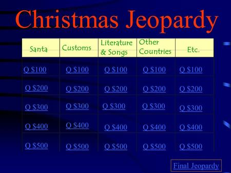Christmas Jeopardy Santa Customs Literature & Songs Other Countries Etc. Q $100 Q $200 Q $300 Q $400 Q $500 Q $100 Q $200 Q $300 Q $400 Q $500 Final Jeopardy.