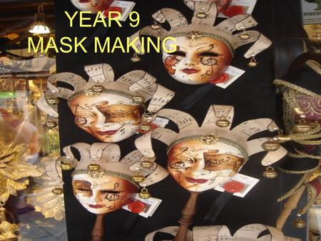 Year 9 mask making YEAR 9 MASK MAKING. Design work to include: Brief and spec. Analysis Evaluation of existing products Research board/Mood board Design.