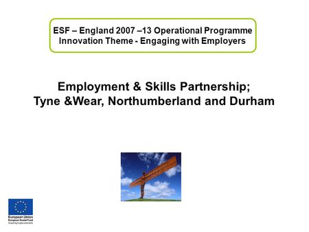 Employment & Skills Partnership; Tyne &Wear, Northumberland and Durham ESF – England 2007 –13 Operational Programme Innovation Theme - Engaging with Employers.