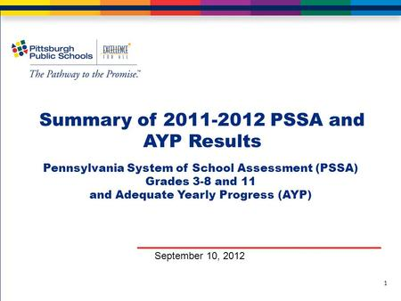 Summary of 2011-2012 PSSA and AYP Results September 10, 2012 1 Pennsylvania System of School Assessment (PSSA) Grades 3-8 and 11 and Adequate Yearly Progress.