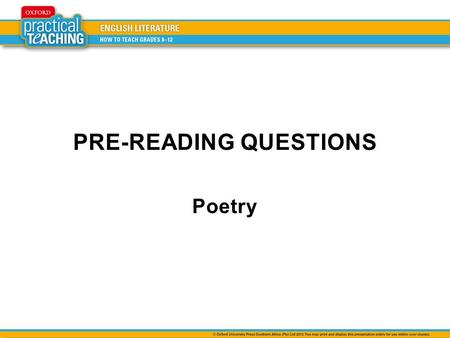 PRE-READING QUESTIONS Poetry. Look at the following photograph and discuss the question. Make notes of your ideas. What is the setting (place) depicted.